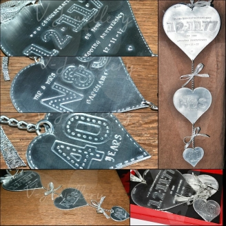 Personalised Stitched Effect 3 Tiered Hanging Hearts Keepsake