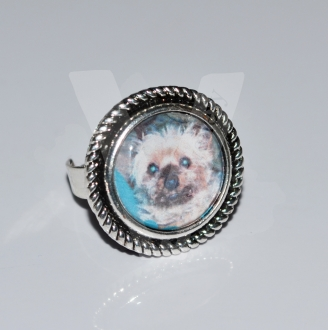 Personal Photo Charm Adjustable Ring *Silver Plated*
