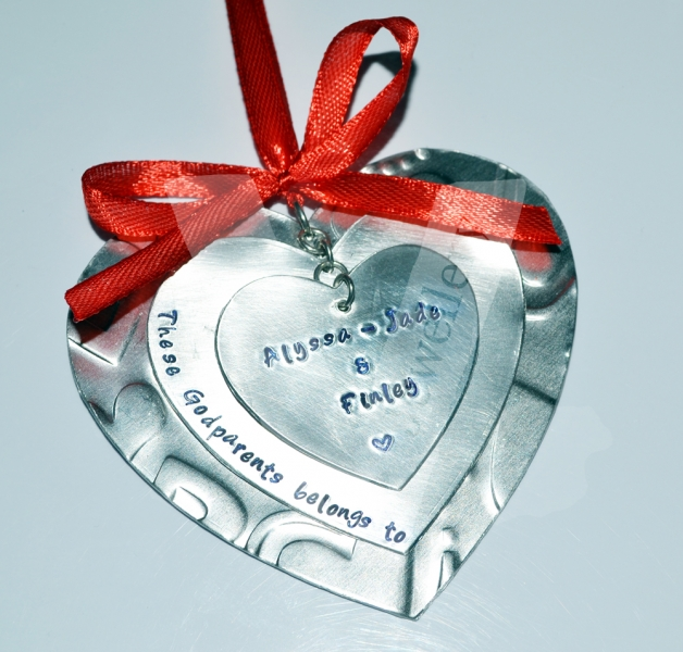 Personalised Embossed Triple Layered Heart Hanging Keepsake