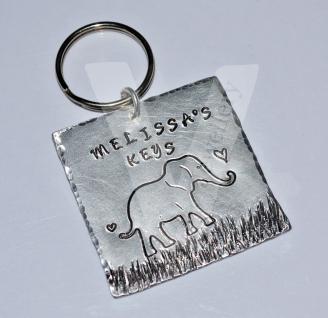 Personalised Etched Elephant Extra Large Square Keyring