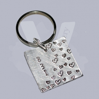 """831 """"8 Letters 3 Words 1 Meaning"""" Hand Stamped Square Keyring"""
