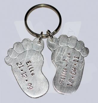 Personalised Large Embossed Baby Feet Keyring