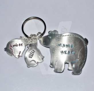 Personalised Hand Stamped Bear Keyring