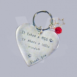 """It takes a BIG heart to shape a little mind"" Large Heart Keyring"