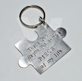 """""""Thank you for being a piece of my life"""" Hand Stamped Large Jigsaw Puzzle Keyring"""
