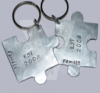 Personalised Hand Stamped Large Jigsaw Puzzle Keyring