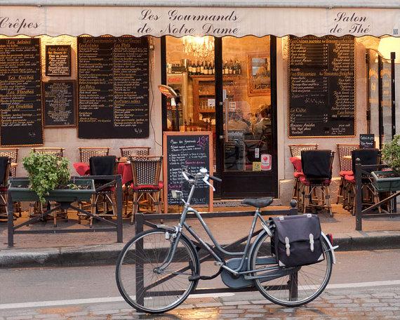 Paris cafe photography bike photo art prints