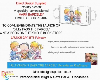 "Mark Bardsley Limited Edition Mug""Billy pass the parcel"""